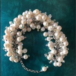 Jewelry - Sterling & Soft Water Pearls Cluster Bracelet